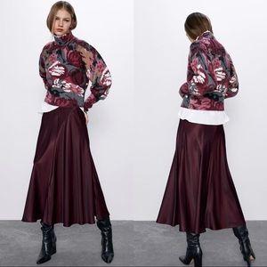 Zara satin midi skirt, maroon